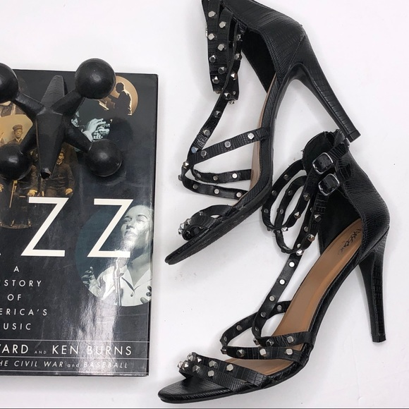 Mossimo Black Studded Ankle Strappy Heels New Sandals